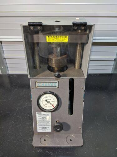 "Carver 4350 Manual Pellet Press / 4"" Round Platen / 12 Ton 3912 Lab Press TESTED"