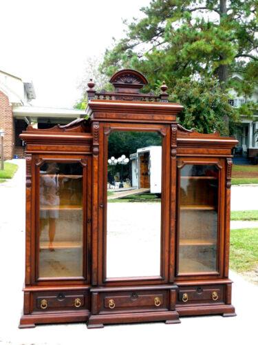 Fantastic Walnut Victorian Three Door Bookcase Display Cabinet circa1860