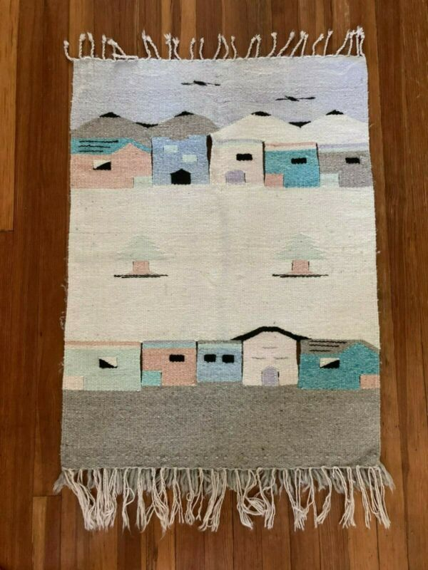 Vintage Woven Mexican Village Scene Tapestry/Wall Hanging