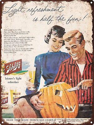 1956 Schlitz Beer Halloween Pumpkin Carving Metal Sign Repro 9x12