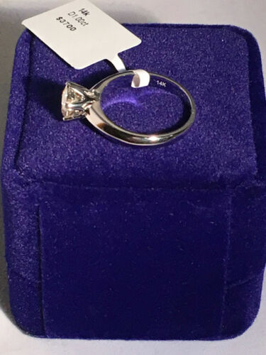 Solitaire Diamond Engagement Ring 1ct  White Gold Finish Round Cut