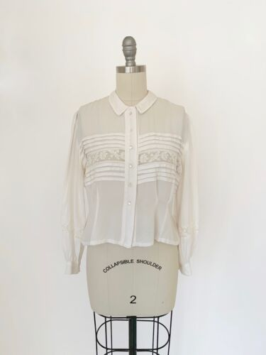 Vintage 1940s Dress Blouse Full Puffed Sleeves Sheer Lace Rayon White 1950s