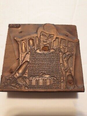 Letterpress Blocks Copperwood Press 3 Lady Girl Rocking Chair Bird Eating Pie