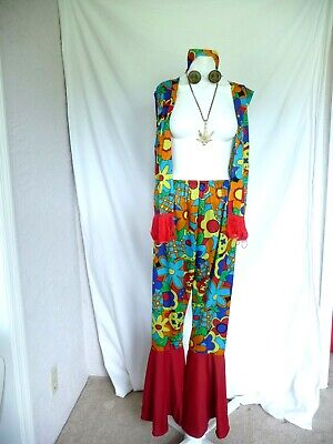 Women's Hippie Costume Flower Child Woodstock Outfit W/ Peace Glasses & Necklace
