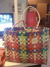USED UNKNOWN BRAND-MULTI COLOURED CANE WICKER TOTE BAG BIT DIRTY Kotara Newcastle Area Preview
