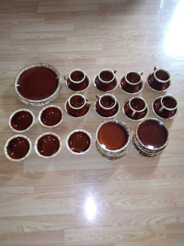 Vintage HULL Dinnerware SET 35pcs Brown Drip