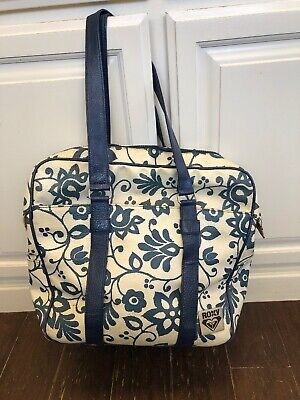 Vintage Roxy Carry On Luggage Bag Tote Suitcase Travel Blue -