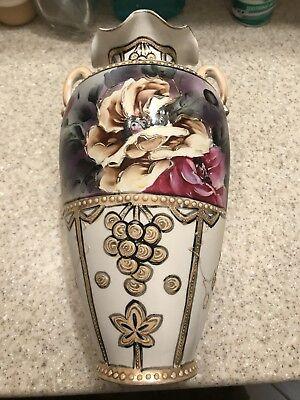 """ANTIQUE NISHIKI ROYAL NIPPON MORIAGE porcelain JAPAN VASE 14"""" LIMITED 42/152"""