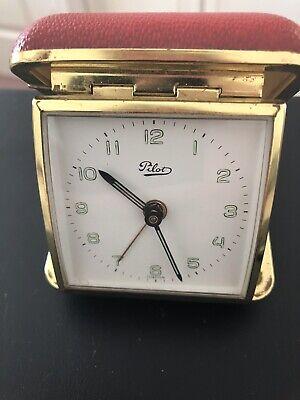 Vintage Pilot Travel Alarm Clock Works
