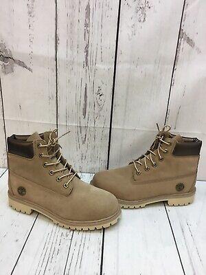 Timberland 6 inch Premium Taupe Nubuck Waterproof Lace Up Boots Boy's Size 6.5 Taupe Nubuck Schuhe