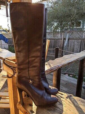 Gucci Vintage Women's Brown Leather High Heel Boots Size 38 Italy gold horseshoe