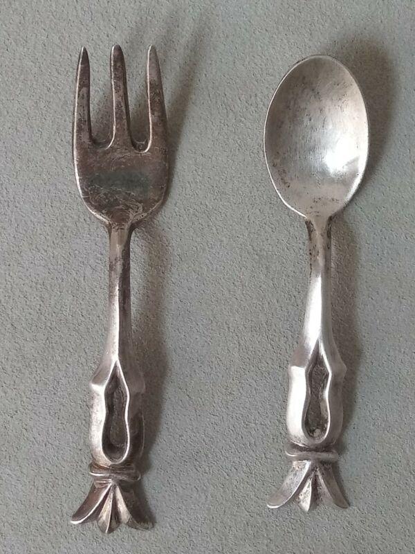 Vintage Native Navajo Indian Sterling Silver Sand Cast Spoon Fork Set 34.8g