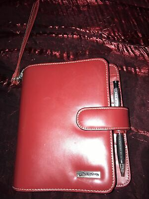 Franklin Covey Red Compact Organizer Planner Binder Clutch Compact Size 3