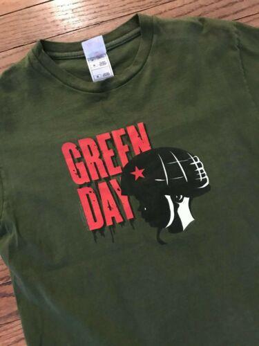 Vtg Green Day Band Concert Tee Fruit of the Loom Military Helmet T Shirt Mens M