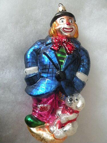 1998 Christopher Radko BLUE Doodles & Noodles 98-429-0 Clown Ornament