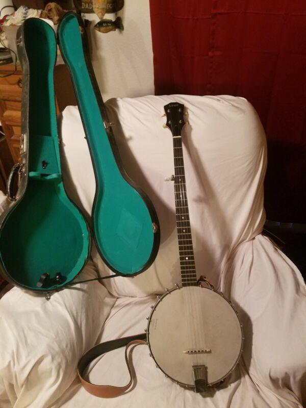 VINTAGE  Vega FRS-5 5-string Banjo  Ser. no. A-124887 Open Back Banjo With case