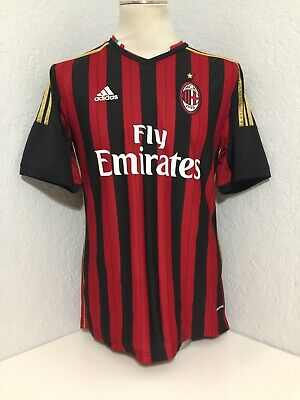 MEN'S Authentic Adidas AC MILAN FOOTBALL SOCCER SHIRT JERSEY SZ M RED/BLACK