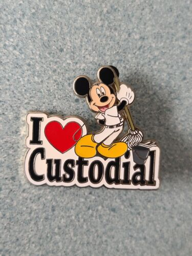 Disney Pins I HEART CUSTODIAL Mickey Mouse Cast Member Exclusive Loose