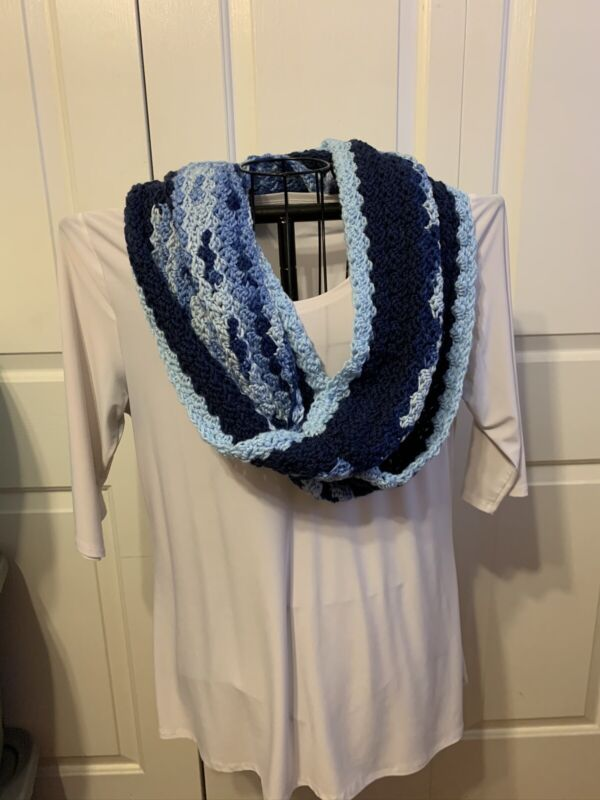 Handmade Crochet Infinity Cowl Scarf Multicolor Blue