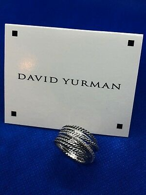 - David Yurman Sterling Silver 925 Crossover Wide Cable Pave Diamond Ring Size 6