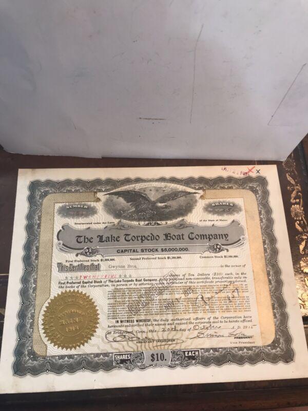 SIMON LAKE SIGNED STOCK CERTIFICATE THE LAKE TORPEDO BOAT COMPANY OCT. 20,1915