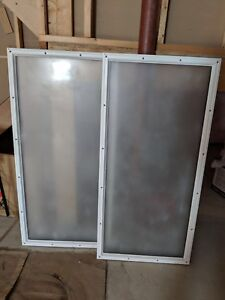 """2x (pair) frosted glass window door inserts — 50""""H x 24""""W"""