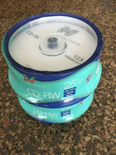 (Lot Of 2) Color Research 25 Pack Cd-rw Blank Media 12x Speed 700mb - C18-42019