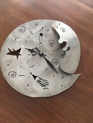 Handcrafted Steampunk Inspired Stainless Steel Wall Clock/Man in The Moon