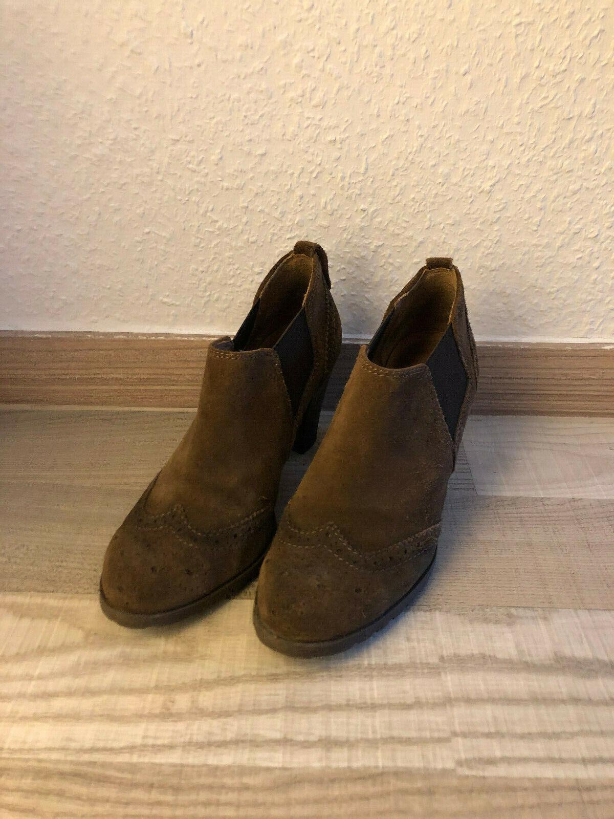 5th Avenue Braun Echtes Leder Größe 37 Damen Schuh Stiefeletten Ankle Boots Boot