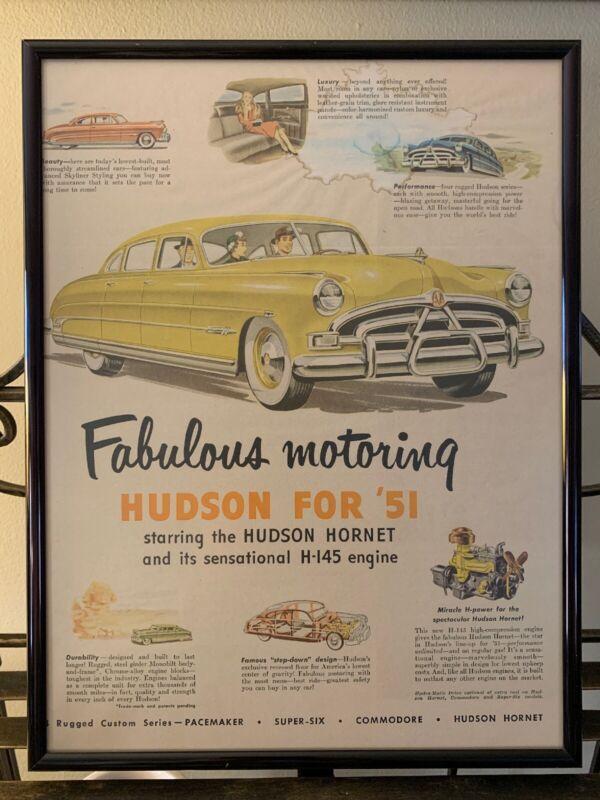 1951 HUDSON HORNET Vintage Advertisement Man Cave Garage Art Black Frame & Glass