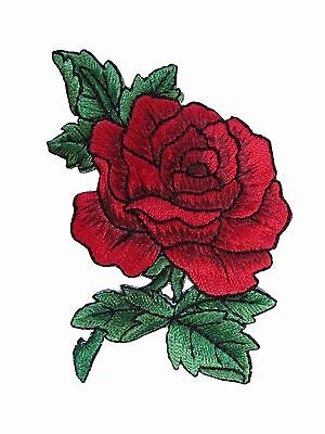 """#3720R 3-1/2"""" Red Rose Flower Embroidery Iron On Applique Patch"""
