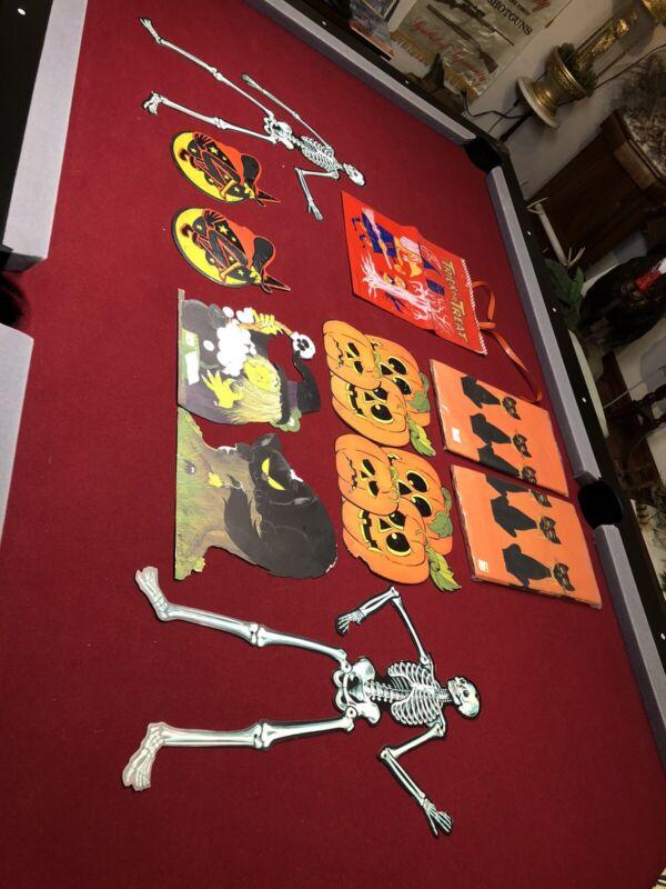 Vintage Halloween Die Cut Wall Decoration Witch pumpkin cat Skeleton 2 Table Cov