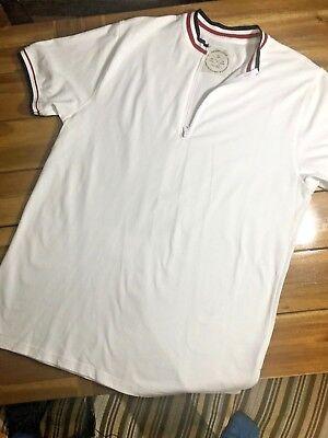 Native Code Men's Shirt Size XL White Red Blue Short Sleeve Zipper Collar Code Red Zipper