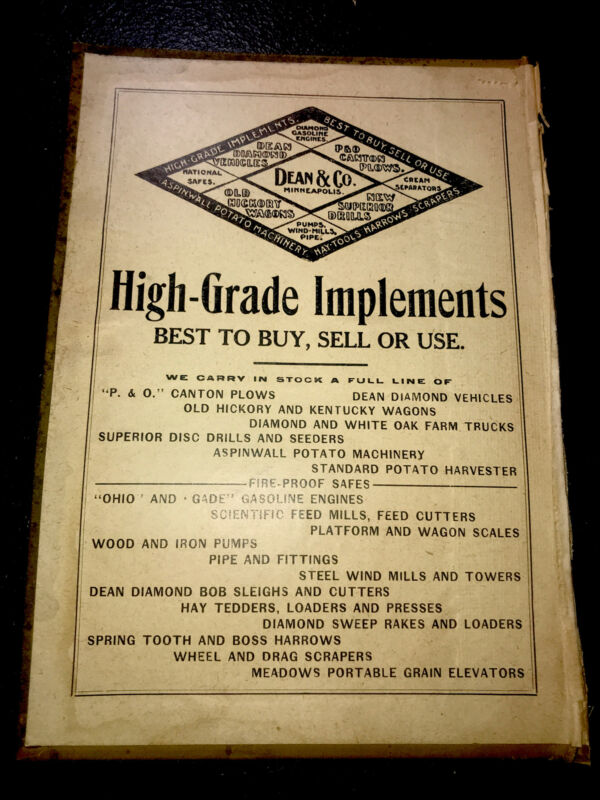 1908 Dean & Co. Farm Implements Advertising - Minneapolis - Minnesota