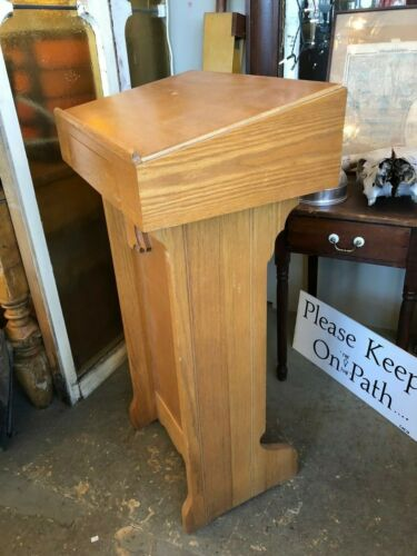 Vintage Oak Veneer Ecclesiastical Lectern Podium Book Stand with Drawer