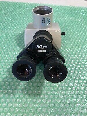 Nikon Microscope Uw Trinocular Head W Cfuw 10x Eyepieces For Optiphot Labophot