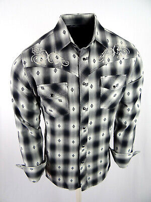 Mens Western Rodeo Cowboy Shirt Black Plaid Soft Cotton Embroidered Snap Up Embroidered Black Western Shirt