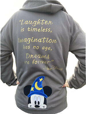 Sorcerer Mickey Fantasia Disney Embroidered Zip Up Hoodie