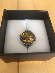Ladies Vintage Sterling Amber Ring 925