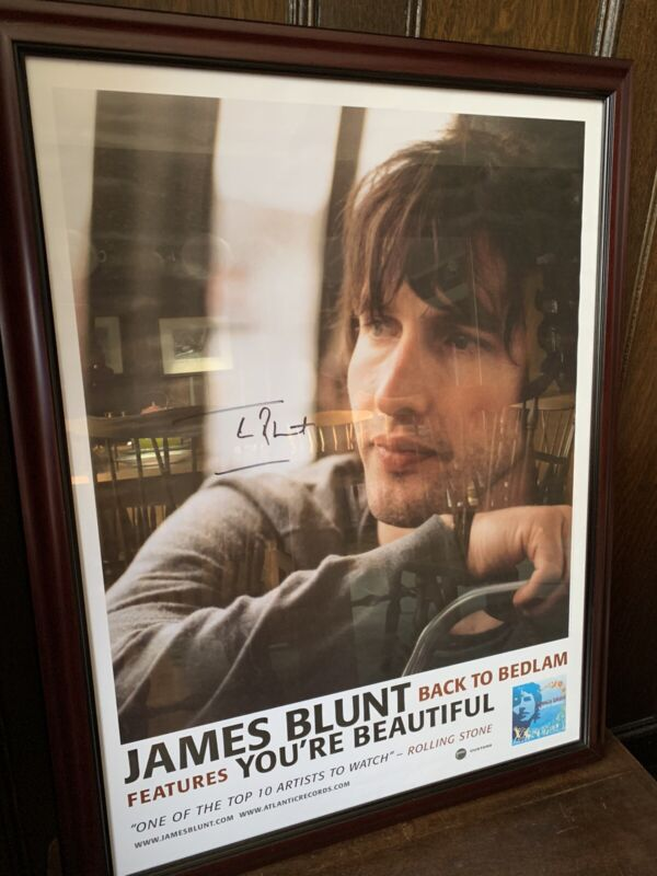 """James Blunt PROMO Poster Back To Bedlam SIGNED AUTOGRAPHED, Framed 27""""X 21"""""""
