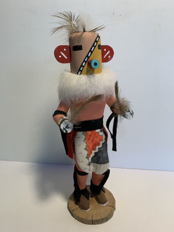 """Vintage Navajo? Wood Kachina Signed Sunset Crater 10"""" Tall Native American"""
