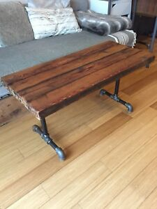COFFEE TABLE AUTHENTIC RECLAIMED WOOD INDUSTRIAL STEEL PIPE
