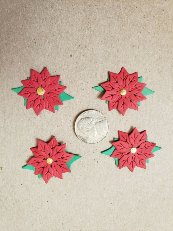 POINSETTIA Christmas die cuts scrapbook cardstock (4 red) small