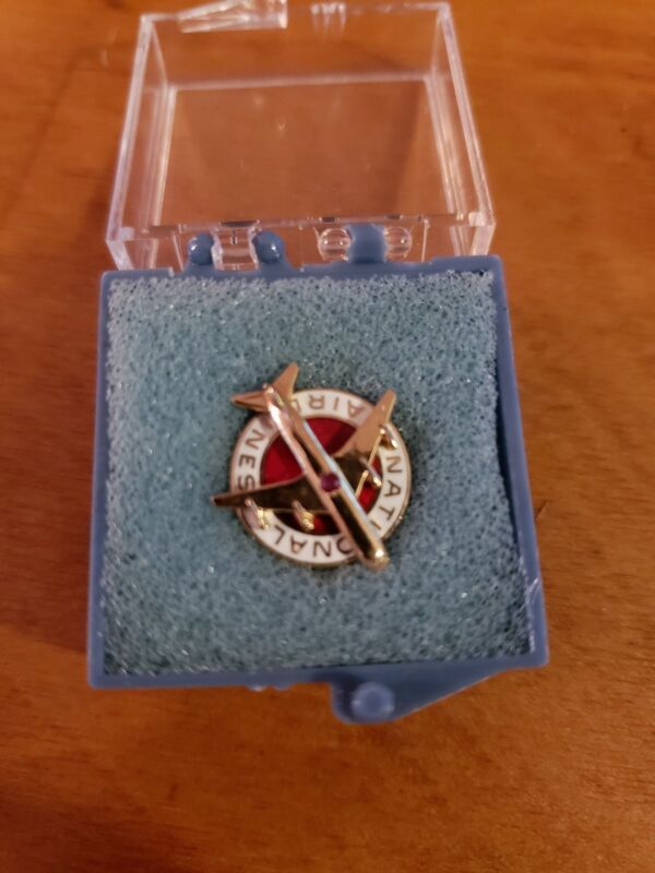 Rare Vintage 10k Gold Ruby And Enamel National Airlines Service Lapel Pin