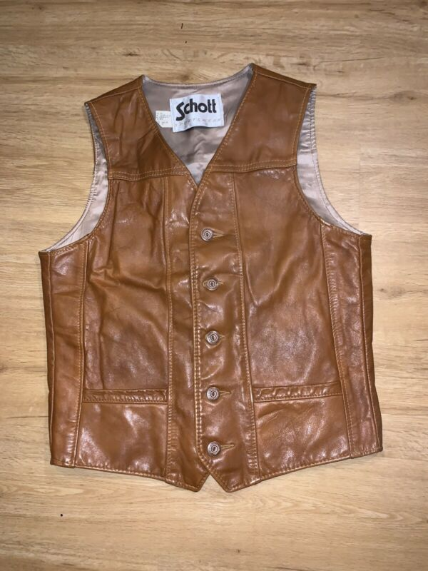 Vtg Schott Leather Vest Size Medium
