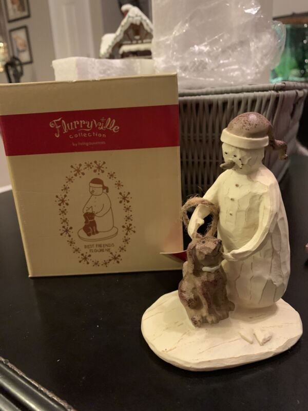 Flurryville Collection BEST FRIENDS New In Box Snowman and Dog Puppy