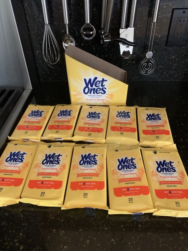 Wet Ones 10 Packs Each 20 Ct Total 200 Tropical Splash Scent