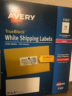 New Avery 5163 2x4 Trueblock White Shipping Labels 1250 Labels 125 Sheets