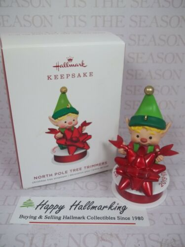 Hallmark 2019 North Pole Tree Trimmers 7th Elf with Bow Ornament