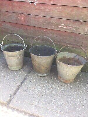 3 galvanised /Metal buckets Up Cycle To Planter /pot Garden Feature Outdoor